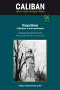 n° 56 - Disparitions. Littérature et arts américains / Disappearances. American Literature and Arts